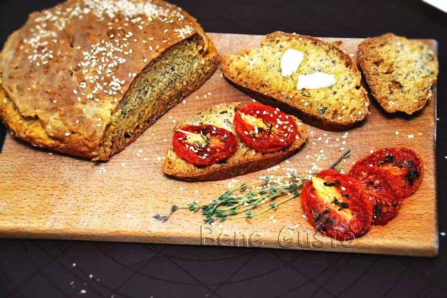 хлеб без замеса с маком и кунжутом
