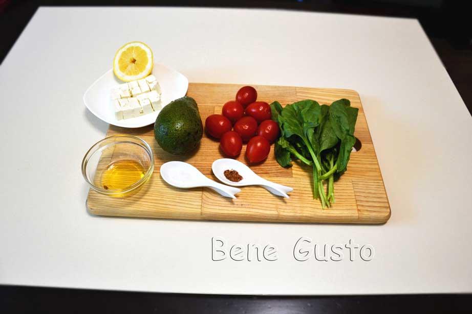 ингредиенты для салата с авокадо и шпинатом