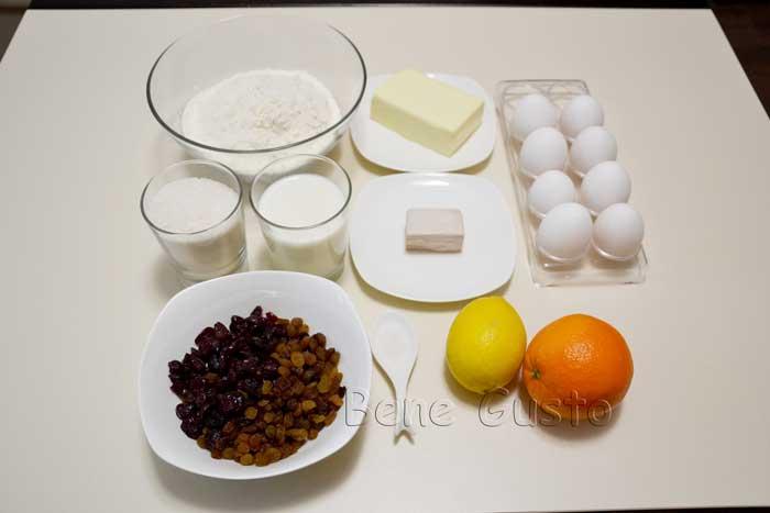 ингредиенты на пасхальный кулич