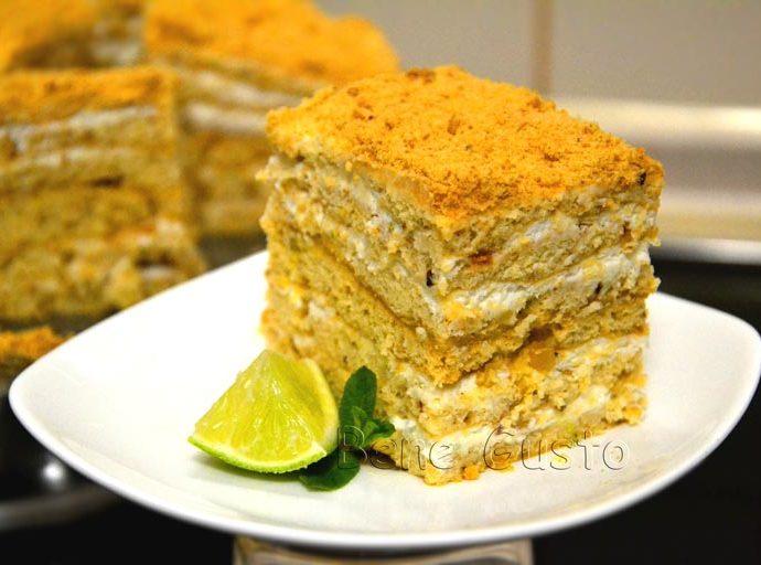 Торт медовик с лаймом и сметанным кремом