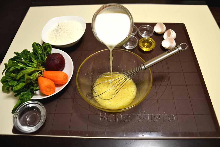 готовим тесто на цветные блины