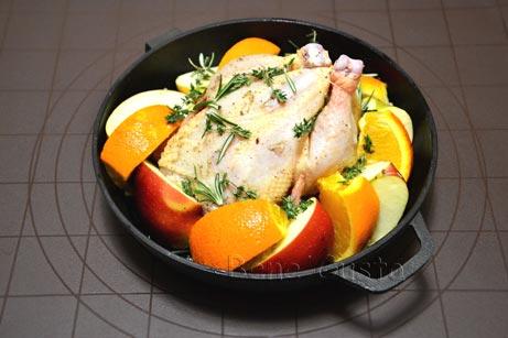 цыпленок с яблоками и апельсинами
