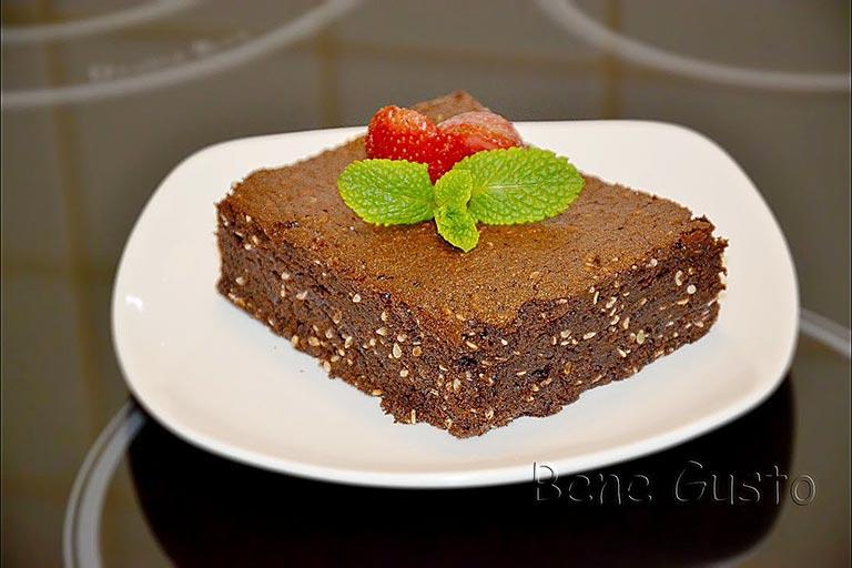 рецепт шоколадный брауни с васаби и кунжутом