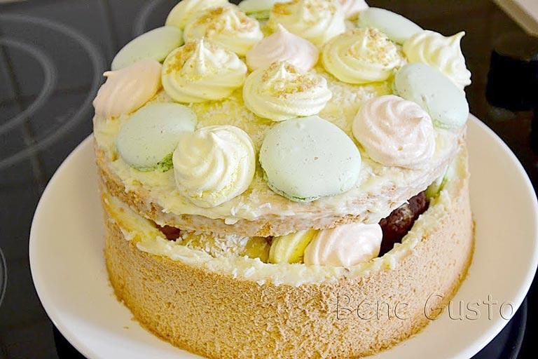 торт шкатулка с безе и сгущенкой