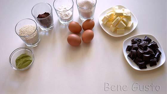 Ингредиенты на рецепт шоколадный брауни с кунжутом