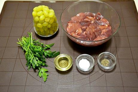 ингредиенты на салат с куриной печенью