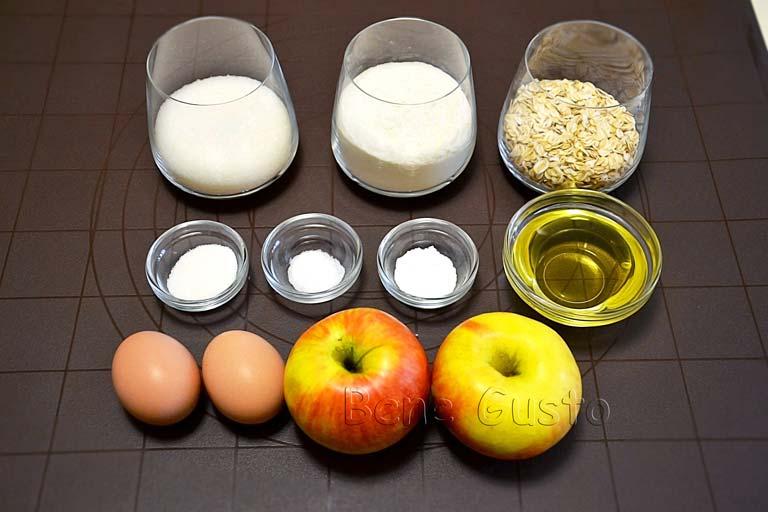ингредиенты на рецепт яблочные кексы шарлотка
