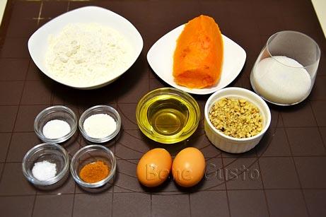 Ингредиенты для рецепта кекс с тыквой