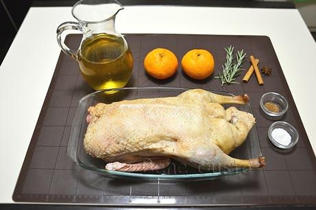 Ингредиенты на рецепт утка в сидре с мандаринами