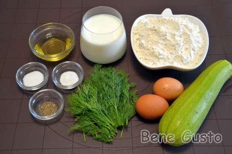 Ингредиенты на блинный торт из кабачков