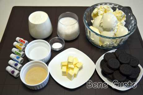 Ингредиенты на радужный чизкейк