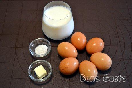 Ингредиенты на омлет с молоком в духовке