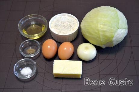 Ингредиенты на быстрый капустный пирог на сковороде