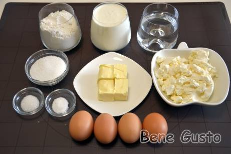 Ингредиенты на рецепт профитроли из заварного теста