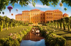 Королевский дворец Венария в Турине (Италия) из крекеров, лука, брокколи, петрушки