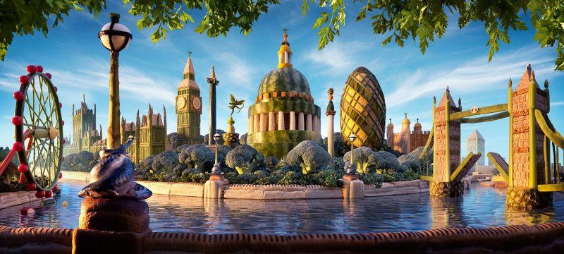 Лондонский пейзаж из арбузов, ананасов, хлеба и спаржи получился замечательный.