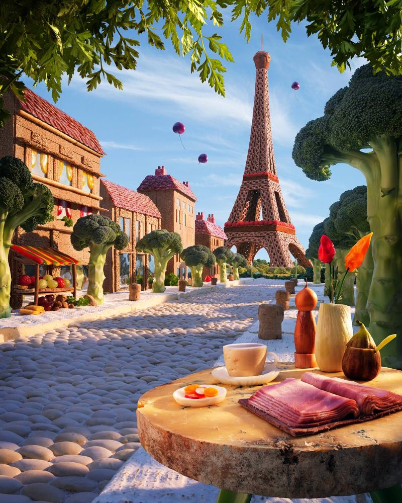 Французская улочка с небольшой кафешкой, откуда открывается вид на главную достопримечательность города — Эйфелеву башню.