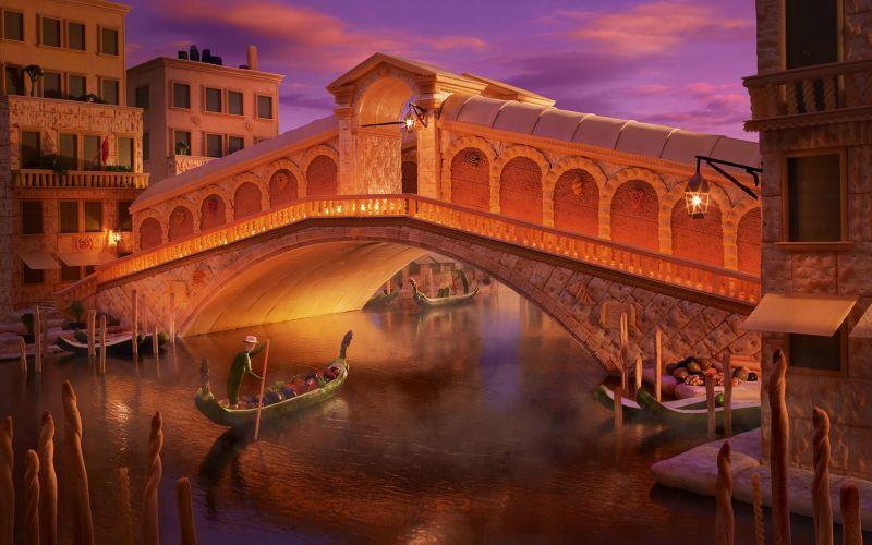 Венецианский мост Риальто Уорнер создал из белого хлеба и крекеров.