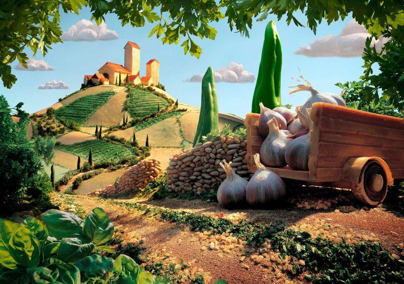 Для создания тосканских пейзажей Карл Уорнер использует традиционные итальянские продукты.