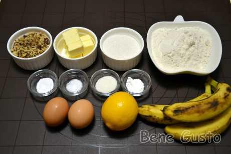 Інгредієнти на банановий хліб з горіхами