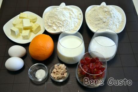 Інгредієнти на італійський кекс панеттоне
