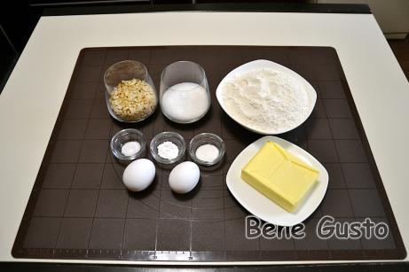 Інгредієнти на пісочне кільце з арахісом.