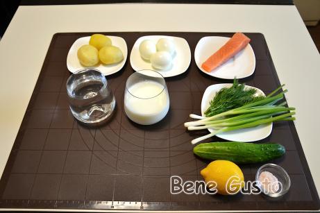 Ингредиенты на рецепт окрошки на кефире